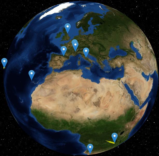 Donkerematerie-experimenten in de wereld