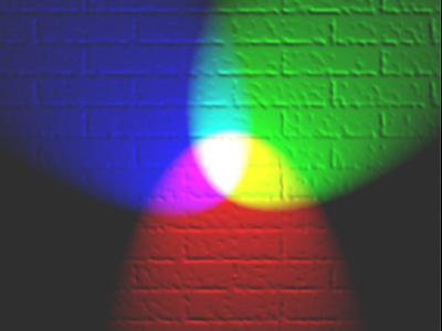 De combinatie van verschillende kleuren van licht