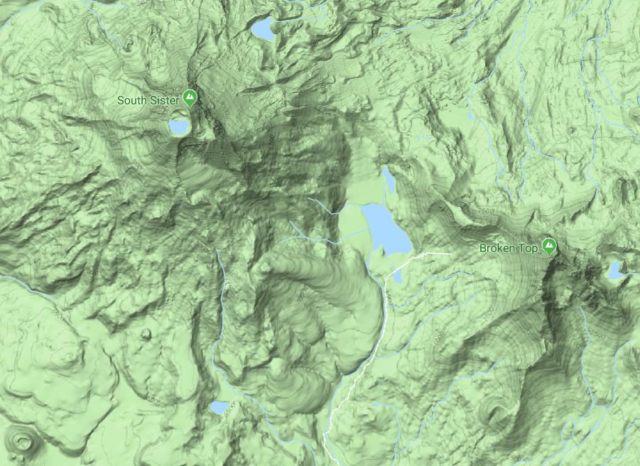 De topografie van de South Sister, Oregon