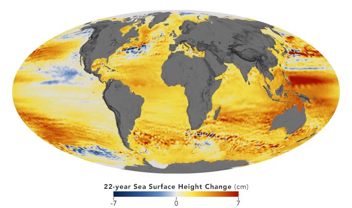 Zeespiegelstijging van 1992-2014